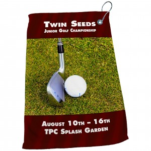 "15"" x 22"" Dye Sublimated Microfiber Golf Towel (with Grommet & Hook)"