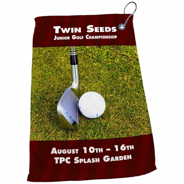 "15"" x 22"" Dye Sublimated Microfiber Golf Towel (with Grommet & Hook)"